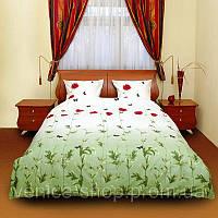Постельное белье мак зеленый полуторный