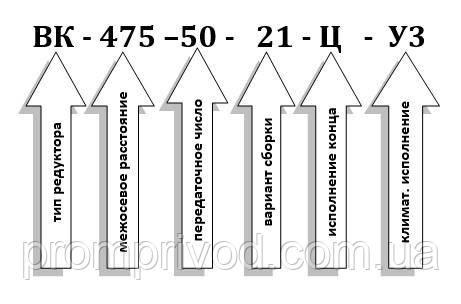 Пример условного обозначения редуктора ВК-475-50