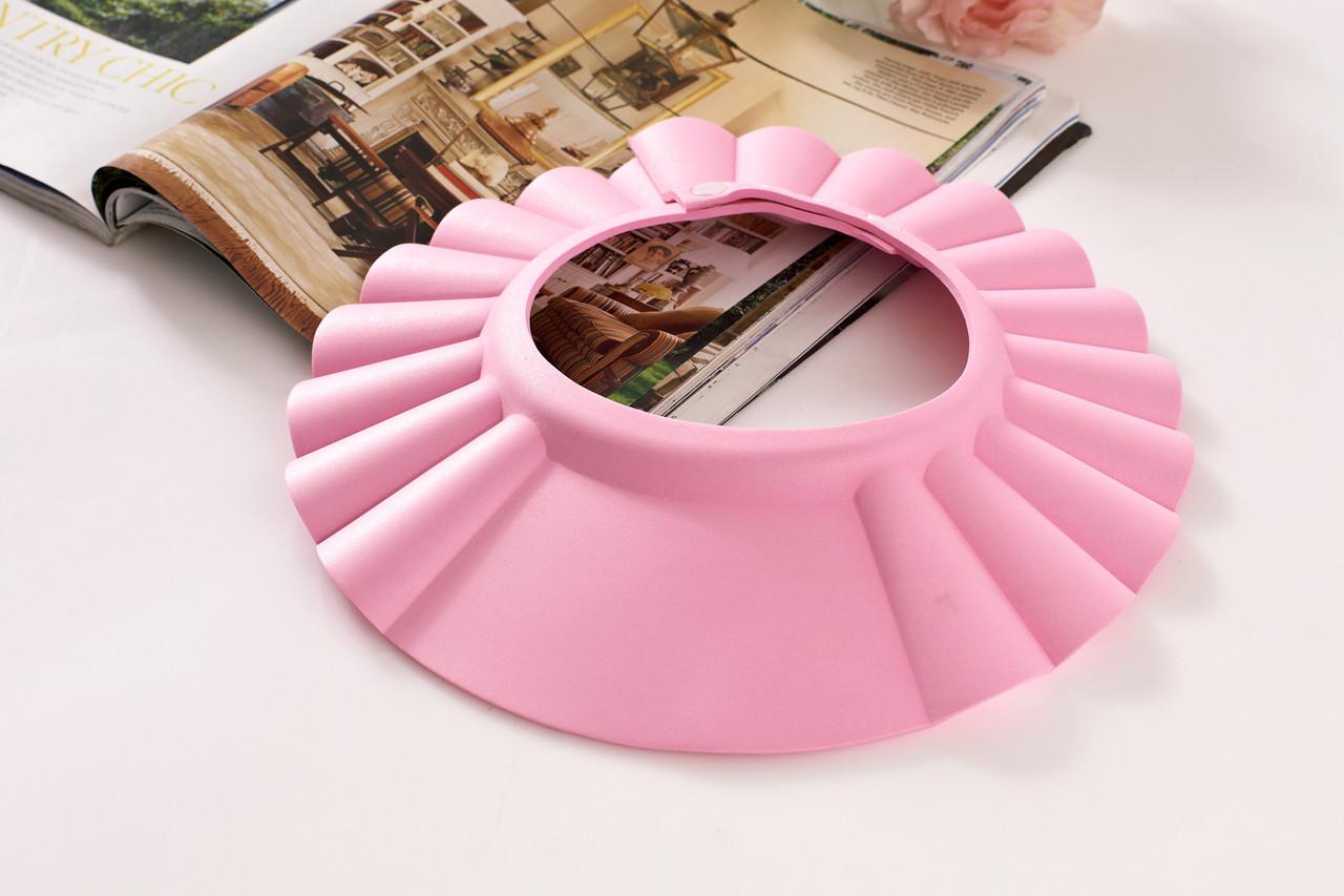 Шапочка для душа Козырек для купания малышей Защита глаз Розовый