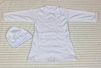 Крестильный набор (рубашечка с шапочкой кружево) белого цвета, ТМ Lari