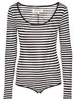 Женская блуза-боди черно/белого цвета с длинным рукавом Isabella 2 от Desires (Дания) в размере S