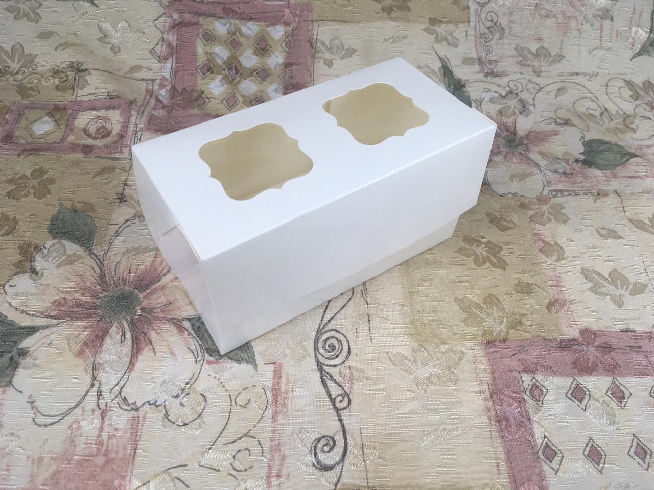 Коробка для 2-ух кексов / 170х85х90 мм / Молочн / окно-2 обычн