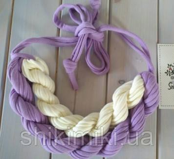 Колье женское вязаное из трикотажной пряжи Сирень
