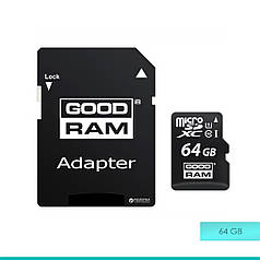Карта памяти micro SDHC UHS-1 64Gb Goodram + adapter