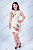 Летнее льняное платье светло-желтого цвета Бабочка