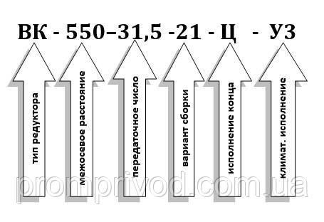 Пример условного обозначения редуктора ВК-550-31,5