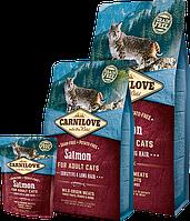 Carnilove Sensitive & Long Hair SALMON For Adult Cats - беззерновой корм для кошек (лосось) , 0,4кг