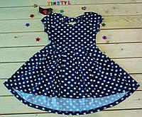 Летний сарафанчик Бантик  синий  для девочки 3-4  года