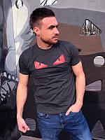 Футболка мужская Красные глаза темно-серая , мужские футболки
