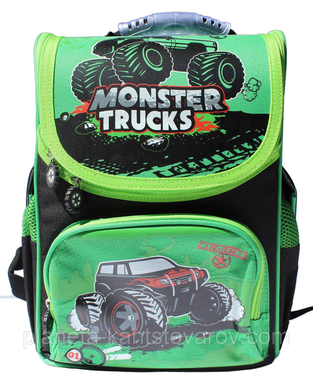"""Ранец ортопедический,каркасный WL-856 """"Monster trucks"""""""