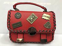 Сумка женская 2184 классическая красная с металлическими нашивками
