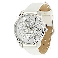 """Часы белые """"Геометрия"""" в подарок , фото 1"""
