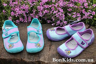 Голубые польские тапочки на девочку детская текстильная обувь тм 3 F р.28, фото 2