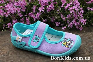 Голубые польские тапочки на девочку детская текстильная обувь тм 3 F р.28, фото 3
