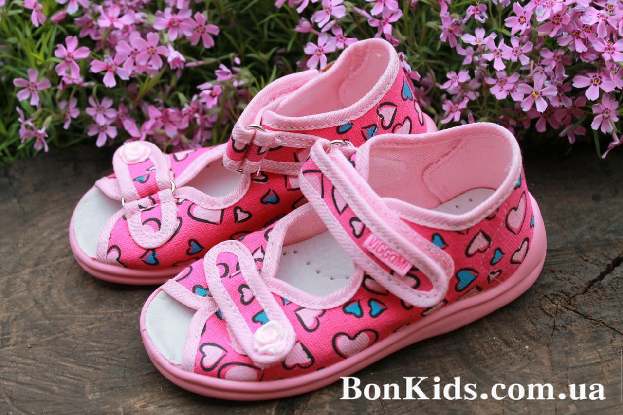 eaf2836bde52 Тапочки на девочку ViGGaMi в сердечка польская детская обувь р.19 - BonKids  - детский
