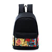 Черный городской рюкзак с цветами