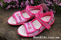 Открытые текстильные розовые тапочки сандалии на девочку  3 F р. 23,24,25,26,27,28