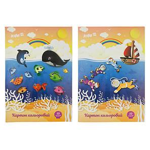 Картон цветной односторонний Kite K17-1255, 10 листов, фото 2