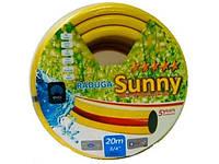 Шланг ПВХ армированный Радуга Sunny, 3-слойный, диаметр трубки 3/4, 1 дюйм, длина 20/30/ 50 м, желтый