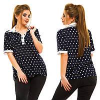 Блуза летняя с воротничком с различными принтами, разные расцветки, большие размеры