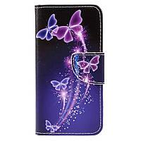 Чехол книжка для Huawei P8 Lite (2017) / Honor 8 Lite боковой с отсеком для визиток, Светящиеся бабочки