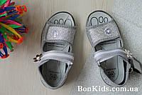 Сербренные текстильные босоножки на девочку, польская текстильная обувь тм 3 F р.24,26,27,28