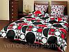 Комплект полуторного  постельного белья ТЕП Круги черно-красные