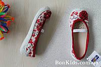 Польские тапочки на девочку с красным бантом текстильная обувь тм 3 F р.26,27,29,30,31