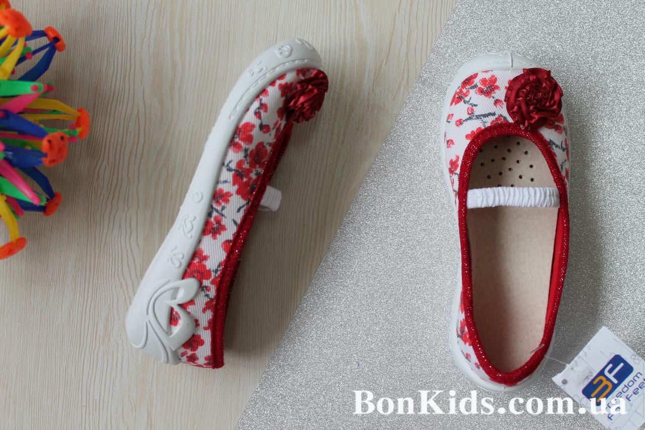 Польские тапочки на девочку с красным бантом текстильная обувь тм 3 F р.26,27,30,31 - BonKids - модный детский магазин обуви и трикотажа в Украине с бесплатной доставкой. в Киеве