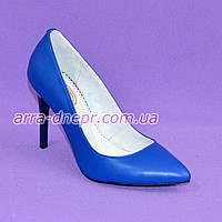 Туфли женские на высоком каблуке, синяя кожа
