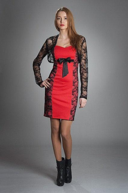 Жіноче плаття коктейльне, прикрашене мереживом, з мереживним болеро