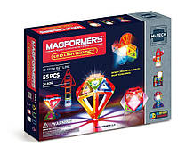 Магнітний конструктор Магформерс Набір з ЛЕД підсвіткою, 55 елементів