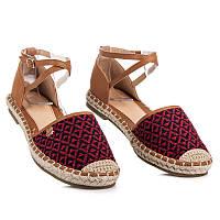 Бордовые женские сандалии эспадрильи с геометрическим узором Summer