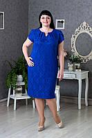 Изящное Праздничное платье р.52-60 цвет Электрик V287-3
