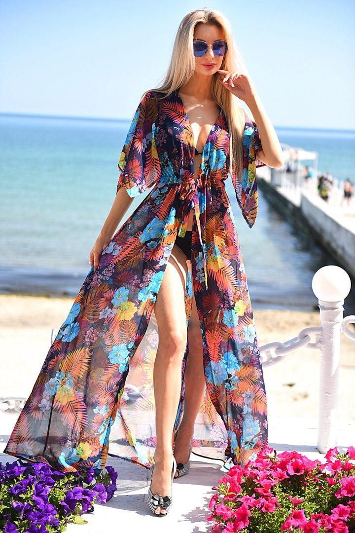 3724c5e931865 Эксклюзивная пляжная шифоновая длинная туника макси под купальник с  принтом, цена 330 грн., купить в Одессе — Prom.ua (ID#542092997)
