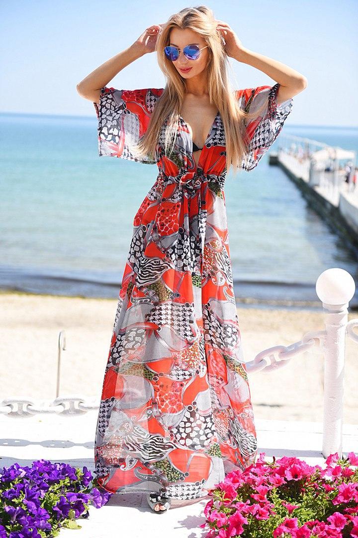 b12158a350f84 Эксклюзивная пляжная шифоновая длинная туника макси под купальник с принтом  - Стильная женская одежда оптом,