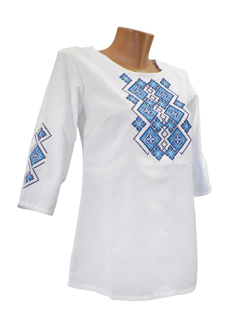Женская вышитая рубашка с широкой горловиной в белом цвете с домотканого полотна
