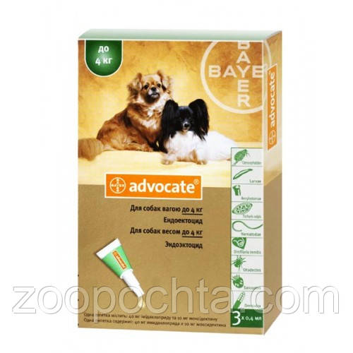 Bayer (Байєр) Адвокат - для собак до 4 кг, (за 1шт)