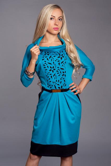 Красивое нарядное трикотажное женское платье с перфорацией 48-52