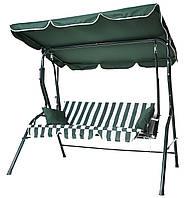 Садовая качеля Furnide 3-х местная с козырьком (бело-зеленая) + 2 подушки