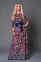 Трикотажное женское платье в пол с леопардовым принтом