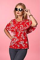 Эффектная красная блуза с бабочками