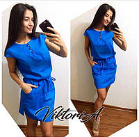 Платье лён 328, цв. синий