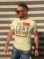 Футболка мужская   TONY желтый меланж, мужские футболки
