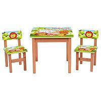 Детский деревяный столик F192 с стульчиками