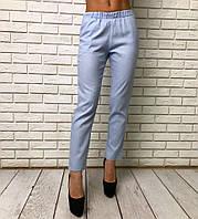 Женские стильные укороченные брюки 3473 / голубые