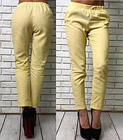 Женские стильные укороченные брюки 3473 / желтые
