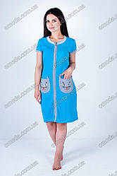 Молодежный летний халатик Кошечка голубой