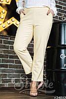 Женские стильные укороченные брюки 03473 / батал / желтые