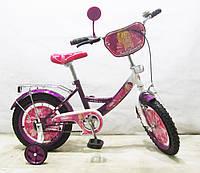 Велосипед детский Балеринка 14 дюймов T-21424 dark purple + white